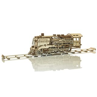 Wooden Express + Tender with rails  - Mechanical 3D wooden puzzle