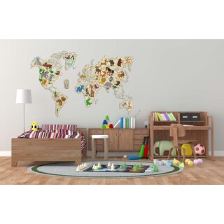WORLD MAP ANIMALS - Size XXL - Wood Wall Puzzle