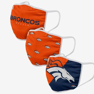NFL Team Denver Broncos - Masques faciaux 3 pack
